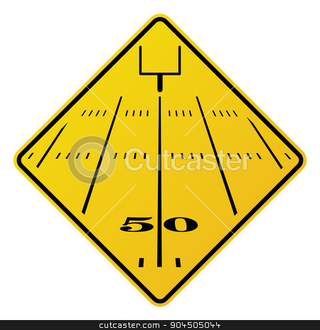 American Football Field Road Sign Illustration stock vector clipart, An yellow road sign containing an American football field and field goal. Vector EPS 10 available. by Jason Enterline