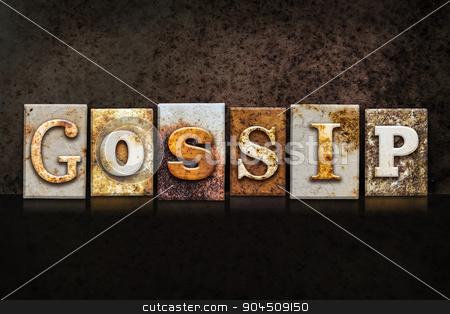 Gossip Letterpress Concept on Dark Background stock photo, The word