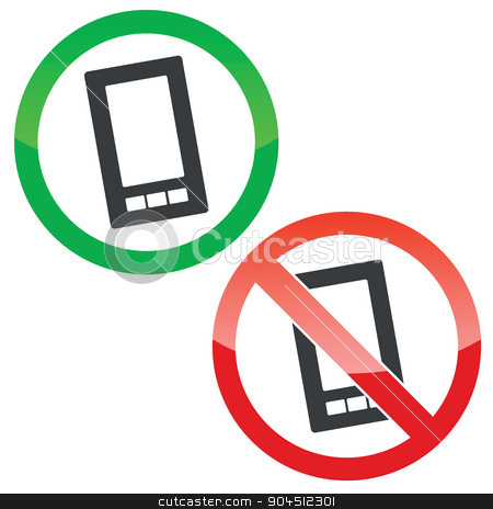 Smartphone permission signs set stock vector clipart, Allowed and forbidden signs with smartphone image, isolated on white by ylivdesign