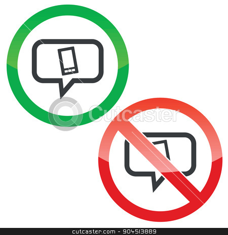 Smartphone message permission signs stock vector clipart, Allowed and forbidden signs with smartphone in chat bubble, isolated on white by ylivdesign
