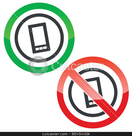 Smartphone permission signs stock vector clipart, Allowed and forbidden signs with smartphone in circle, isolated on white by ylivdesign