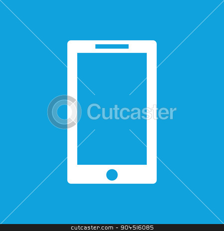 Tablet icon on blue stock vector clipart, Tablet icon simple, isolated on blue by ylivdesign