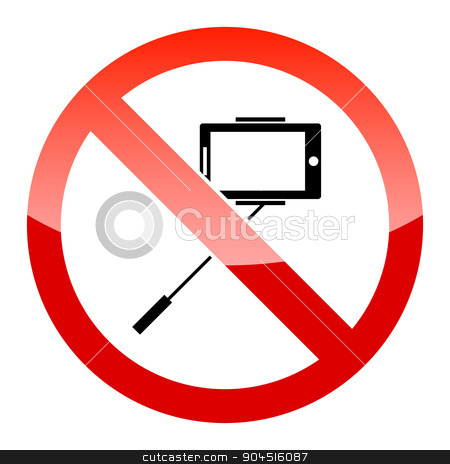 Selfie forbidden icon stock vector clipart, Selfie forbidden icon, with no sign, isolated on white by ylivdesign