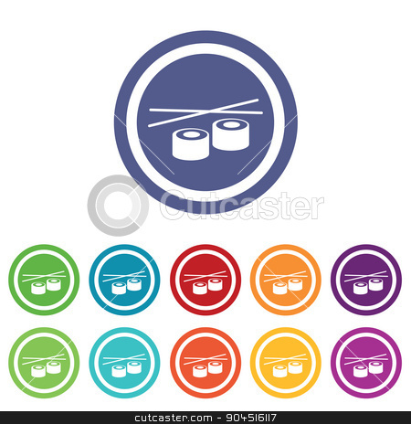 Sushi signs colored set stock vector clipart, Sushi signs set, on colored circles, isolated on white by ylivdesign