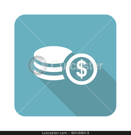 Dollar rouleau icon, square stock vector clipart, Dollar rouleau icon, square, with long shadow, isolated on white by ylivdesign