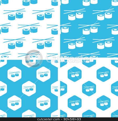 Sushi rolls patterns set stock vector clipart, Sushi rolls patterns set, simple and hexagon, blue and white by ylivdesign