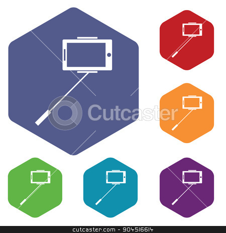 Selfie icon, colored hexagon set stock vector clipart, Selfie icons set, in hexagon, on colored circles, isolated on white by ylivdesign