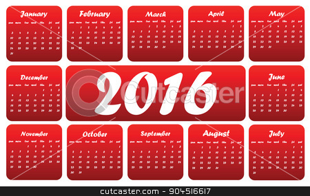 Red 2016 calendar stock vector clipart, Red 2016 calendar, in English, squares on white background by ylivdesign