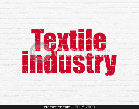 Manufacuring concept: Textile Industry on wall background stock photo, Manufacuring concept: Painted red text Textile Industry on White Brick wall background by mkabakov