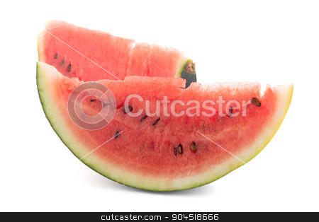 Watermelon stock photo, Closeup of watermelon slices on white background by Homydesign
