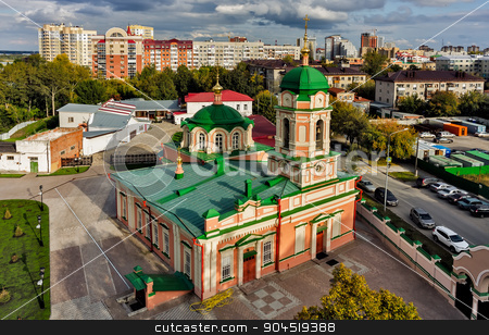 Bird eye view on Ilyinsky temple. Tyumen. Russia stock photo, Tyumen, Russia - September 3, 2015: Aerial view onto Ilyinsky temple of Ilyinsky woman convent by Aikon