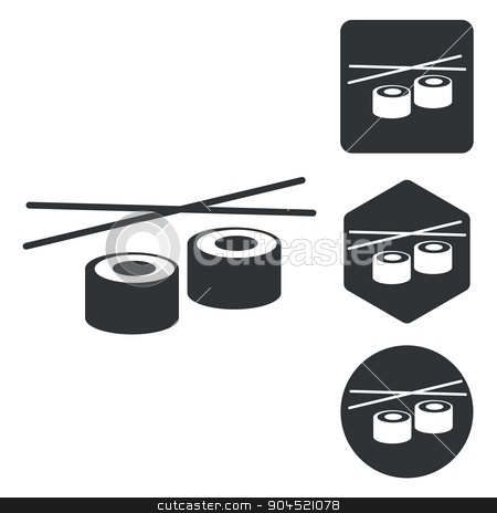 Sushi icon set, monochrome stock vector clipart, Sushi icon set, monochrome, isolated on white by ylivdesign