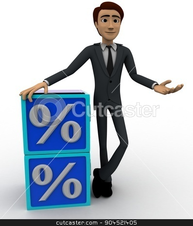 3d man with blue discount cubes concept stock photo, 3d man with blue discount cubes concept on white background, front    angle view by 3dlabs