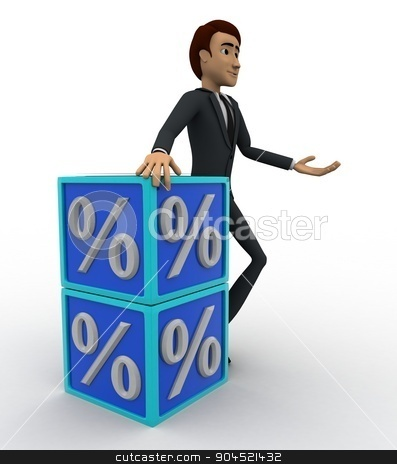 3d man with blue discount cubes concept stock photo, 3d man with blue discount cubes concept on white background, side angle view by 3dlabs