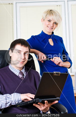 Business team with laptop stock photo, Business people are working on laptop in office by Aikon