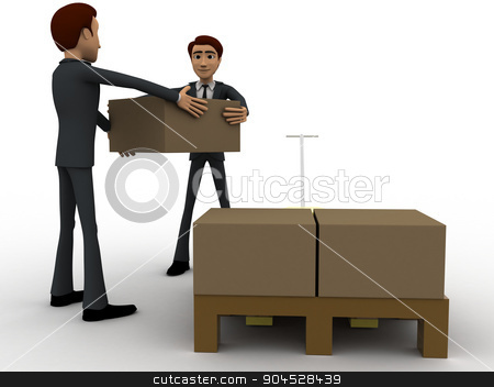 3d men lifting boxes from palletizer concept stock photo, 3d men lifting boxes from palletizer concept on white background, front angle view by 3dlabs