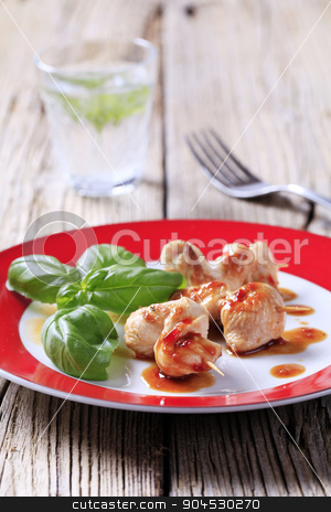 Chicken satay stock photo, Chicken on sticks and sweet sauce  by Digifoodstock