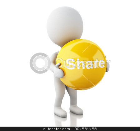 3d White people with share symbol stock photo, 3d renderer image. White people with share symbol. Social media concept. Isolated white background by nicolas menijes