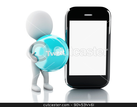 3d White people with smartphone and tweet bubble stock photo, 3d renderer image. White people with smartphone and tweet bubble. social media concept. Isolated white background by nicolas menijes