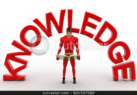 3d superhero with book in hand and knowledge text concept stock photo, 3d superhero with book in hand and knowledge text concept on white background, front angle view by 3dlabs