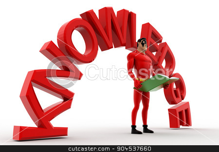 3d superhero with book in hand and knowledge text concept stock photo, 3d superhero with book in hand and knowledge text concept on white background, side angle view by 3dlabs
