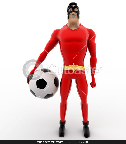 3d superhero with soccer ball in hand concept stock photo, 3d superhero with soccer ball in hand concept on white background, front angle view by 3dlabs
