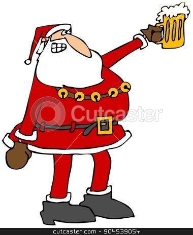 Santa raising his beer mug stock photo, Illustration depicting Santa Claus raising his beer mug as a toast. by Dennis Cox