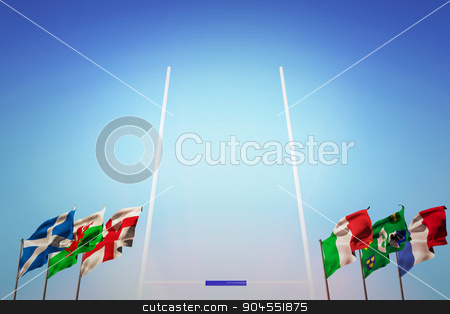 Composite image of rugby pitch stock photo, Rugby pitch against rugby pitch by Wavebreak Media