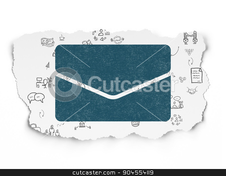 Finance concept: Email on Torn Paper background stock photo, Finance concept: Painted blue Email icon on Torn Paper background with Scheme Of Hand Drawn Business Icons by mkabakov