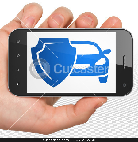 Insurance concept: Hand Holding Smartphone with Car And Shield on display stock photo, Insurance concept: Hand Holding Smartphone with blue Car And Shield icon on display by mkabakov