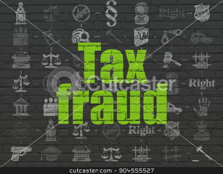 Law concept: Tax Fraud on wall background stock photo, Law concept: Painted green text Tax Fraud on Black Brick wall background with Scheme Of Hand Drawn Law Icons by mkabakov