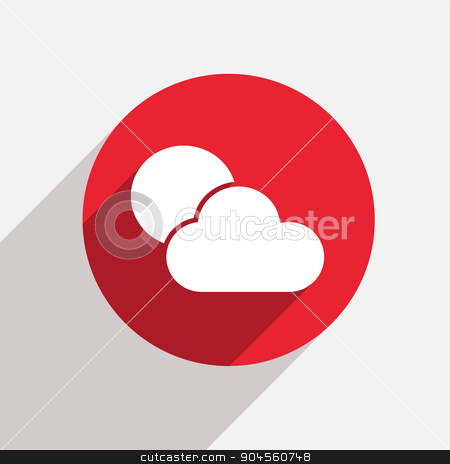 Vector modern weather red circle icon  stock vector clipart, Vector modern weather red circle icon with shadow by petr zaika