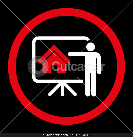 Realtor flat red and white colors rounded vector icon stock photo, Realtor vector icon. This rounded flat symbol is drawn with red and white colors on a black background. by ahasoft