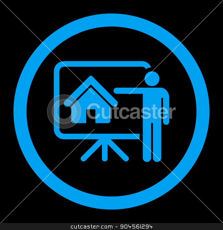 Realtor flat blue color rounded glyph icon stock photo, Realtor glyph icon. This rounded flat symbol is drawn with blue color on a black background. by ahasoft