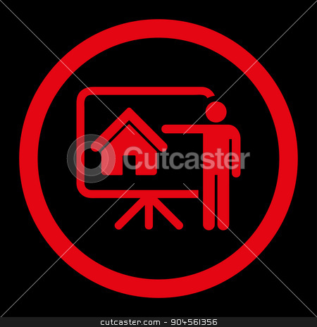 Realtor flat red color rounded glyph icon stock photo, Realtor glyph icon. This rounded flat symbol is drawn with red color on a black background. by ahasoft