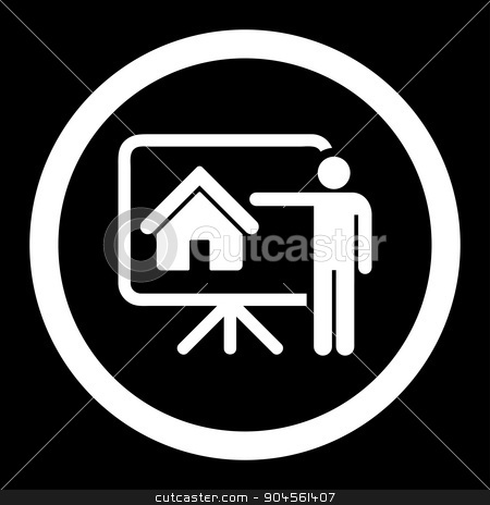 Realtor flat white color rounded glyph icon stock photo, Realtor glyph icon. This rounded flat symbol is drawn with white color on a black background. by ahasoft