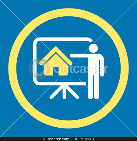 Realtor flat yellow and white colors rounded glyph icon stock photo, Realtor glyph icon. This rounded flat symbol is drawn with yellow and white colors on a blue background. by ahasoft