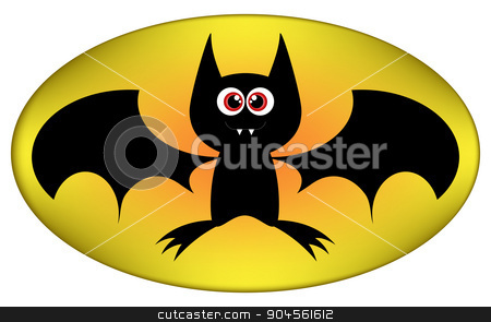 Vector Funny Halloween bat cartoon sign. Illustration isolated on white background stock vector clipart, Vector Funny Halloween bat cartoon sign. Illustration isolated on white background by Anna Kaczor