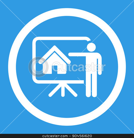 Realtor flat white color rounded glyph icon stock photo, Realtor glyph icon. This rounded flat symbol is drawn with white color on a blue background. by ahasoft