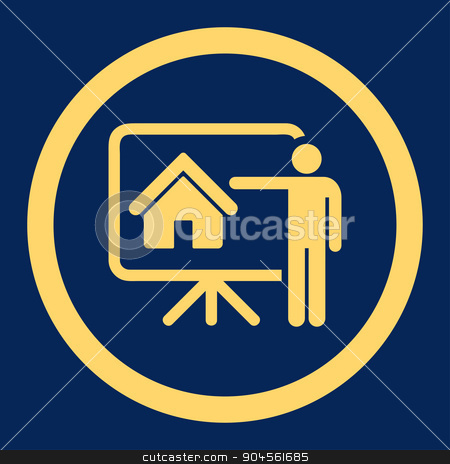 Realtor flat yellow color rounded glyph icon stock photo, Realtor glyph icon. This rounded flat symbol is drawn with yellow color on a blue background. by ahasoft