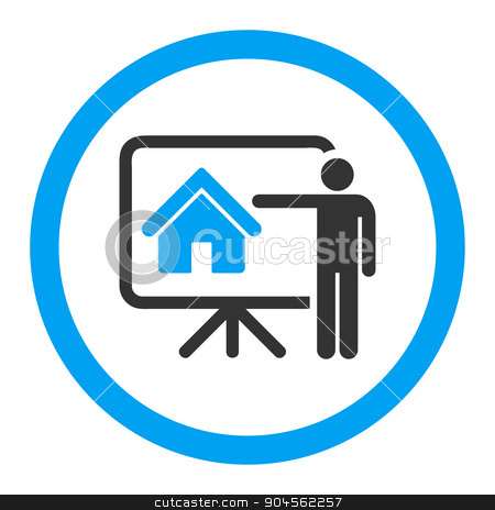 Realtor flat blue and gray colors rounded glyph icon stock photo, Realtor glyph icon. This rounded flat symbol is drawn with blue and gray colors on a white background. by ahasoft