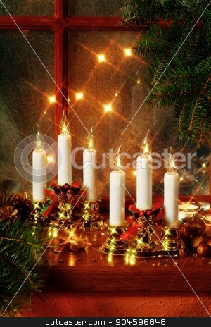 Christmas still life stock photo, Christmas decoration on window sill  by Digifoodstock