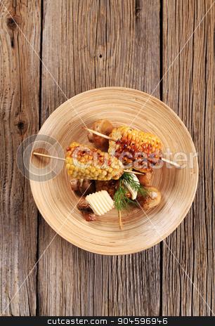 Roasted sweet corn and mushrooms stock photo, Roasted sweet corn cobs and button mushrooms by Digifoodstock