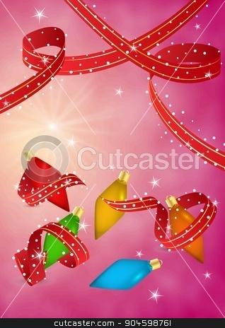 christmas celebration card stock vector clipart, christmas celebration card with red ribbon and shining stars by muuraa