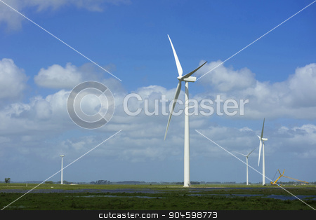 Green energy ecology windmill field sky background stock photo, Green energy farm multiple wind mills on green field and blue sky background. Includes clipping path, so you can easily cut and place on a design. by Cienpies Design