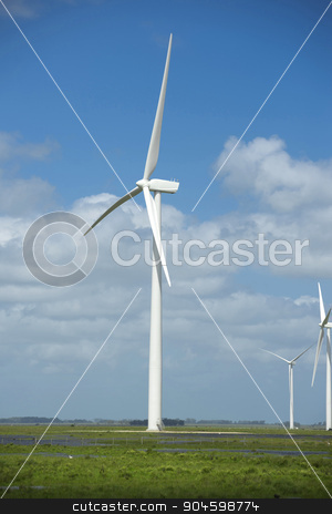 Green energy ecology windmill field sky background stock photo, Green energy wind power plant with field and blue sky background. Includes clipping path, so you can easily cut and place on a design. by Cienpies Design