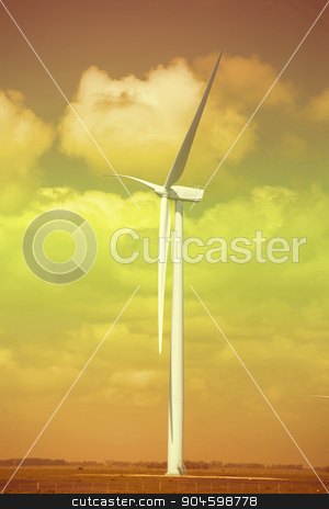 Green energy ecology windmill field sky background stock photo, Green energy wind mill  turbine on field and blue sky background. Includes clipping path, so you can easily cut and place on a design. by Cienpies Design