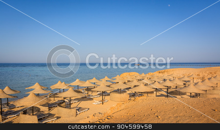 egyptian beach stock photo, Egyptian parasols on the beach of Red Sea by Robertobinetti70