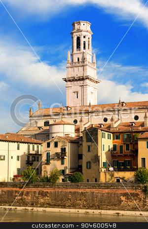 Verona Cathedral - Veneto Italy stock photo, Detail of the Verona Cathedral in Romanesque style (1187 - UNESCO world heritage site) - Santa Maria Matricolare - Verona, Veneto Italy by catalby