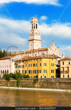 Verona Cathedral - Veneto Italy stock photo, Detail of the Verona Cathedral in Romanesque style (1187 - UNESCO world heritage site) - Santa Maria Matricolare - Verona, Veneto Italy by catalby